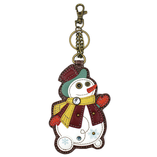 CHALA Snowman Key Fob, Coin Purse, Purse Charm - Enchanted Memories, Custom Engraving & Unique Gifts