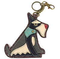CHALA Schnauzer Key Fob, Coin Purse, Purse Charm - Enchanted Memories, Custom Engraving & Unique Gifts