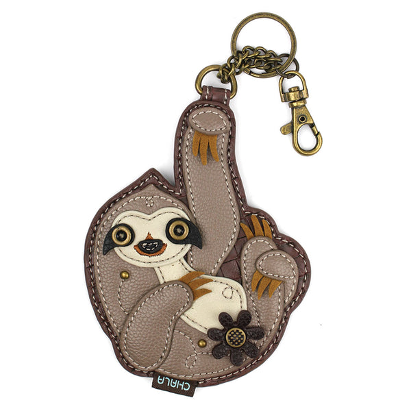 CHALA Sloth Key Fob, Coin Purse, Purse Charm - Enchanted Memories, Custom Engraving & Unique Gifts