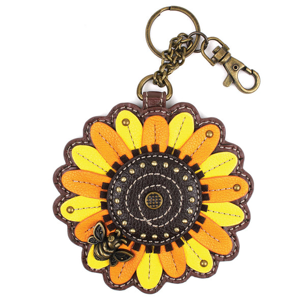 CHALA Sunflower Key Fob, Coin Purse, Purse Charm - Enchanted Memories, Custom Engraving & Unique Gifts