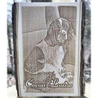Wooden Barkboard Pet Photo Plaque for any photograph to be engraved as a gift for any pet lover you know.