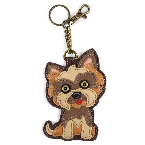 CHALA Yorkie Key Fob, Coin Purse, Purse Charm - Enchanted Memories, Custom Engraving & Unique Gifts
