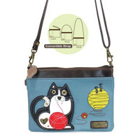 CHALA Mini Crossbody Black and White Tuxedo Cat - Enchanted Memories, Custom Engraving & Unique Gifts