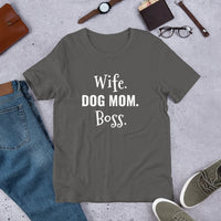 Wife Dog Mom Boss - Custom Short Sleeve Unisex T-Shirt - Enchanted Memories, Custom Engraving & Unique Gifts