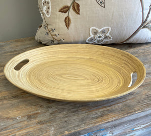 Vintage Coiled Bamboo Tray