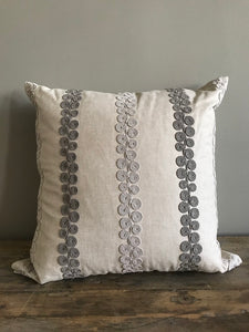 Scroll Trimmed Embroidery Pillow