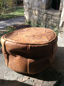 Vintage Embossed Leather Hassock