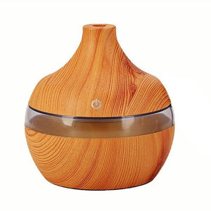 EJOAI 300ml USB Wood Grain Essential Oil Aroma Diffuser Electric Aromatherapy Mist Maker with 7 Color LED Lights for Home Office