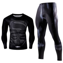 Load image into Gallery viewer, Men's Compression GYM training Clothes Suits workout Superman jogging Sportswear Fitness Dry Fit Tracksuit Tights 2pcs / sets