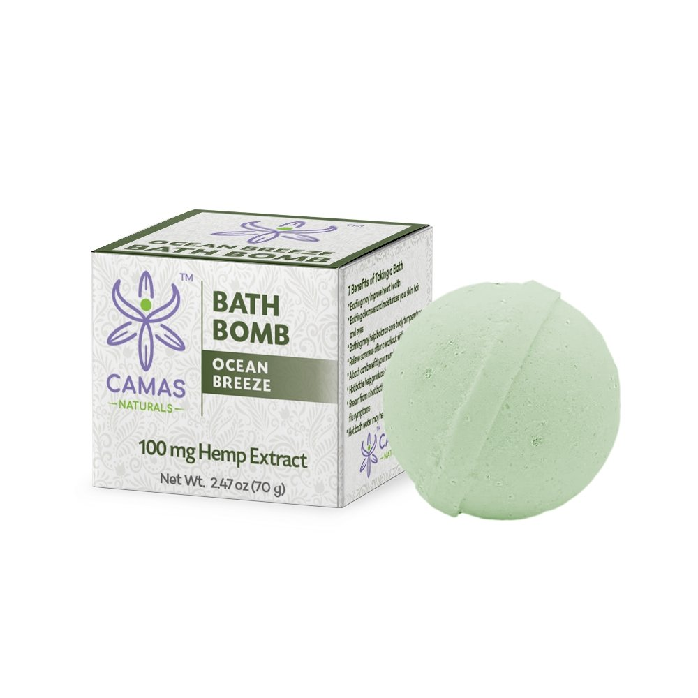 CBD Bath Bomb - 100mg Ocean Breeze - Camas Naturals - The Hemp Dispense