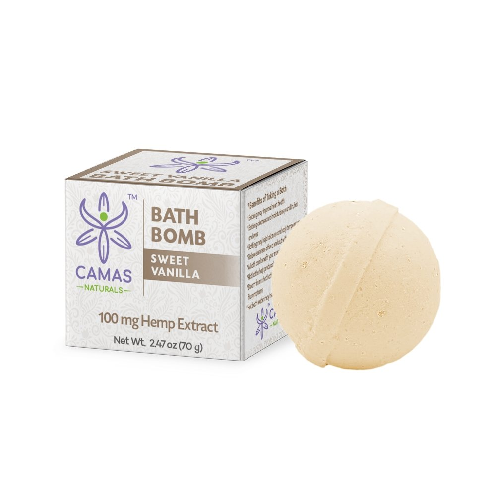 CBD Bath Bomb - 100mg Sweet Vanilla - Camas Naturals - The Hemp Dispense