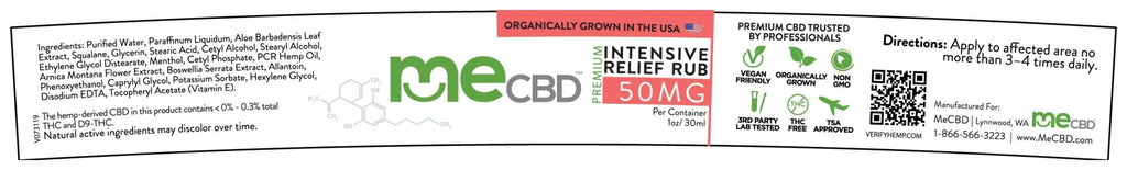 CBD Intensive Relief Rub - 50mg (Vegan) - The Hemp Dispense