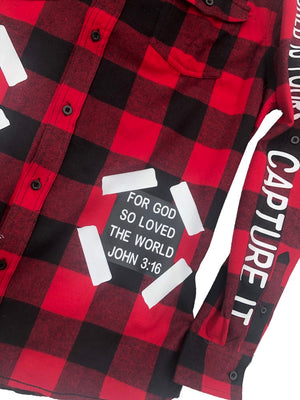 red flannel shirt with John 3:16 bible verse patch
