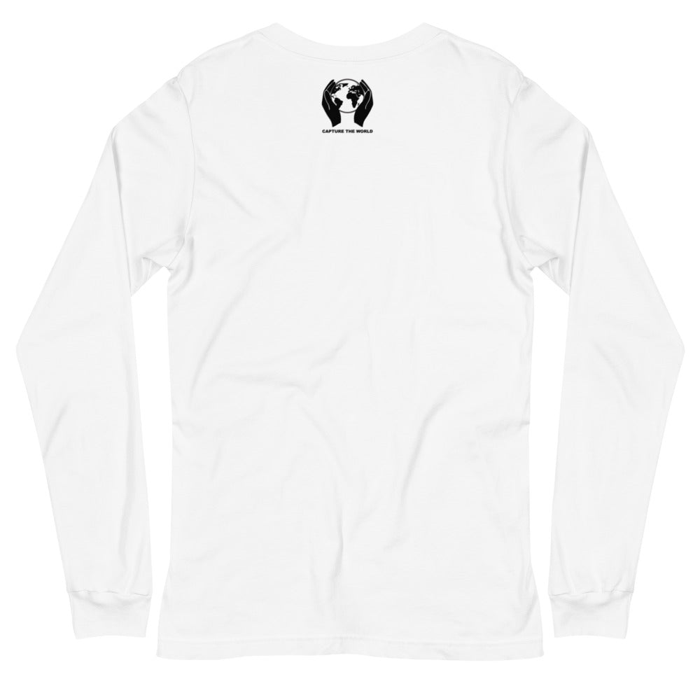white long sleeve tee with capture the world logo on the back
