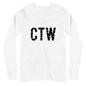 Capture The World white long sleeve tee with CTW on the front