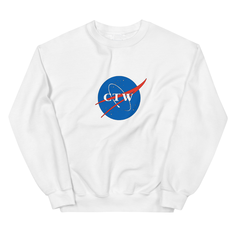white cotton sweatshirt with nasa inspired ctw logo