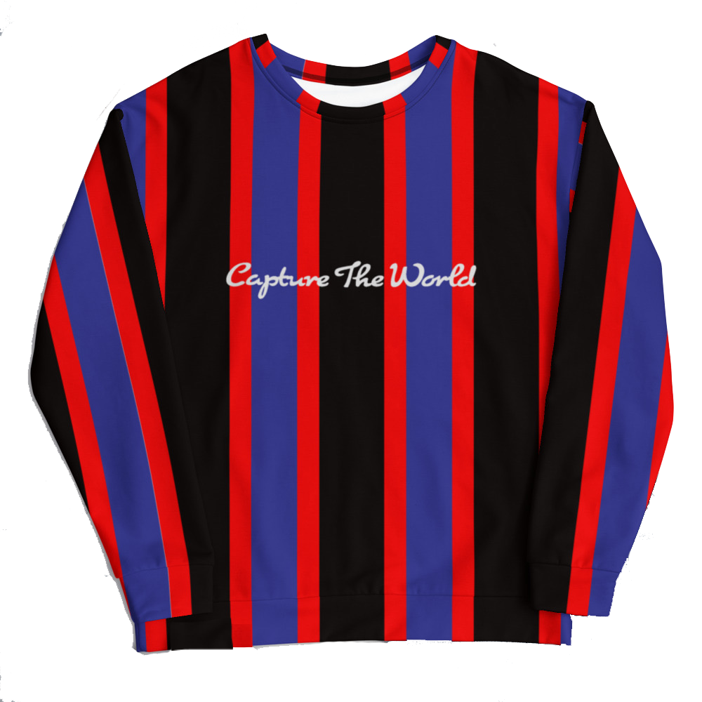 red blue black striped polyester long sleeve shirt