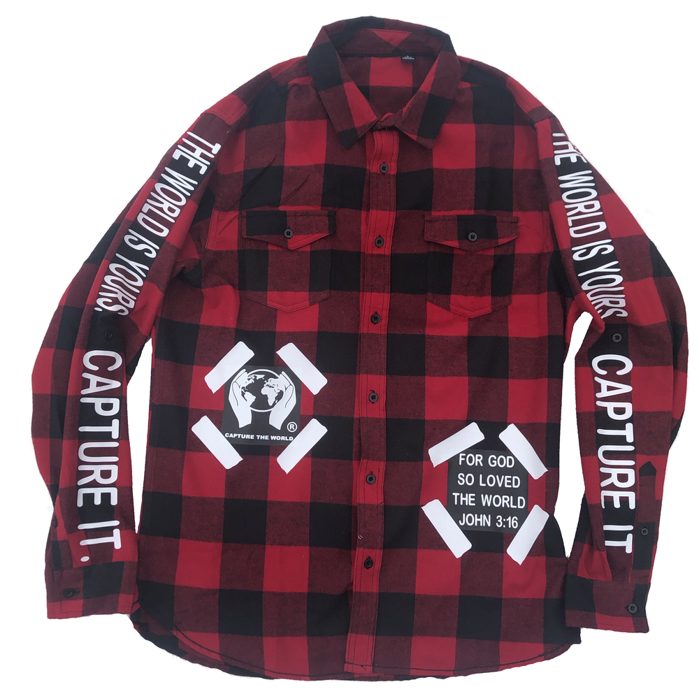 mens red flannel with john 3:16 verse and capture the world logo