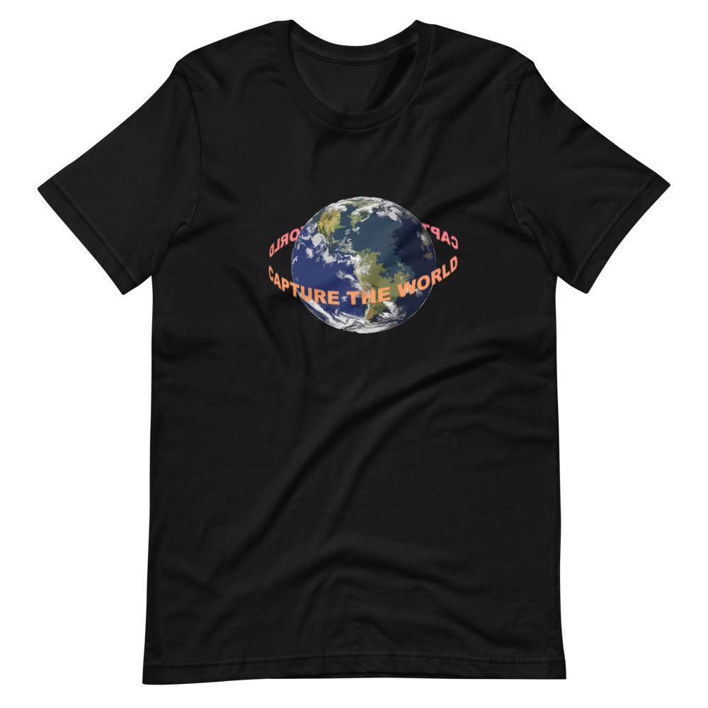 black shirth with worh words going around earth