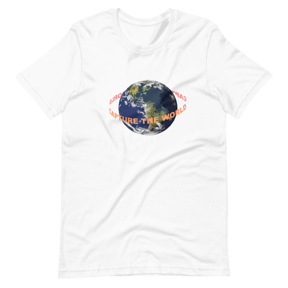 white shirt with words going around earth