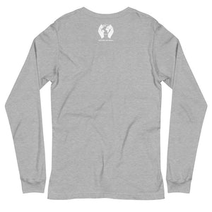 "Back of Carbon Grey ""Jesus Peace"" Long Sleeve Tee with white CTW Logo"