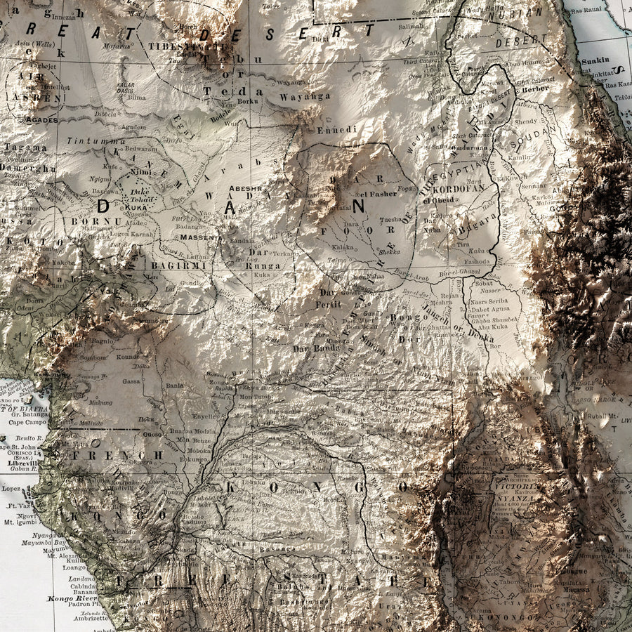 Africa - Vintage Relief Map (1894)