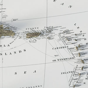 The Caribbean - Vintage Relief Map