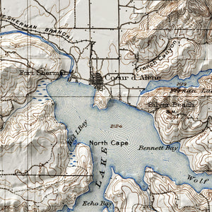 Coeur d'Alene, ID - Vintage Relief Map