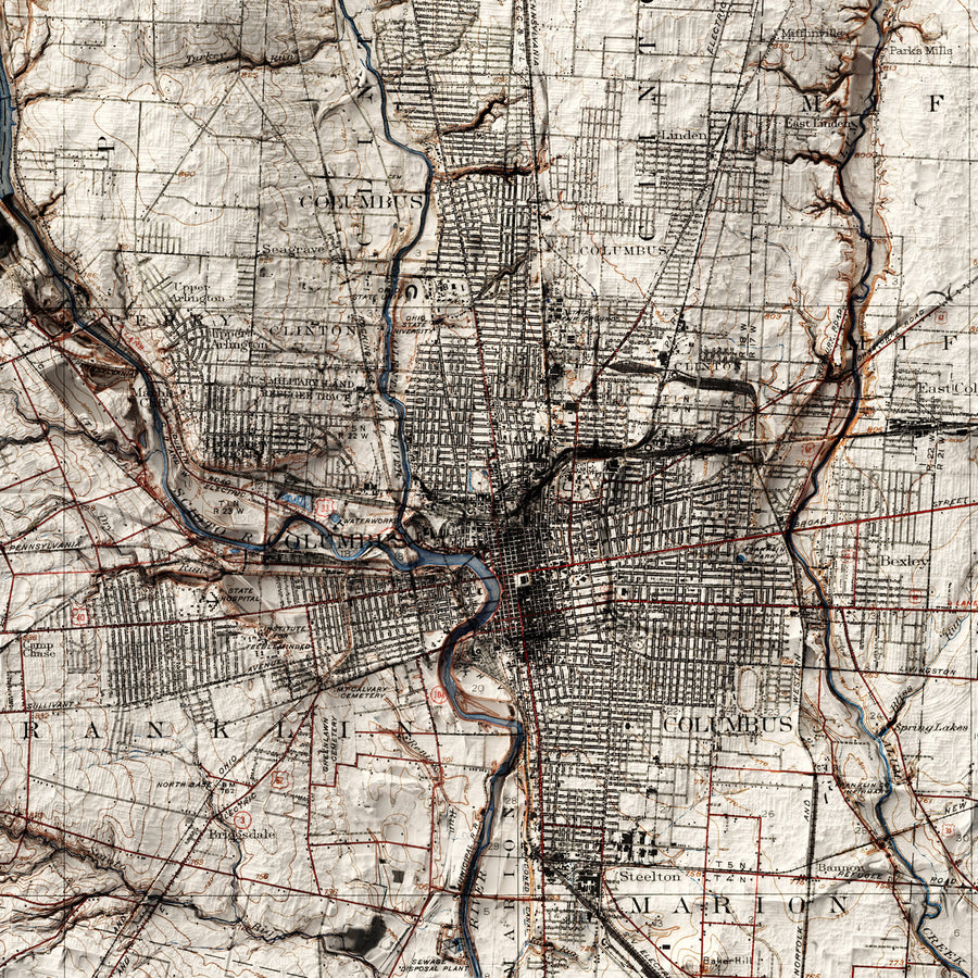 Columbus, OH - Vintage Relief Map (1925)