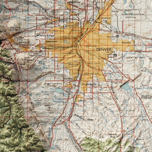 Denver, CO - Vintage Relief Map