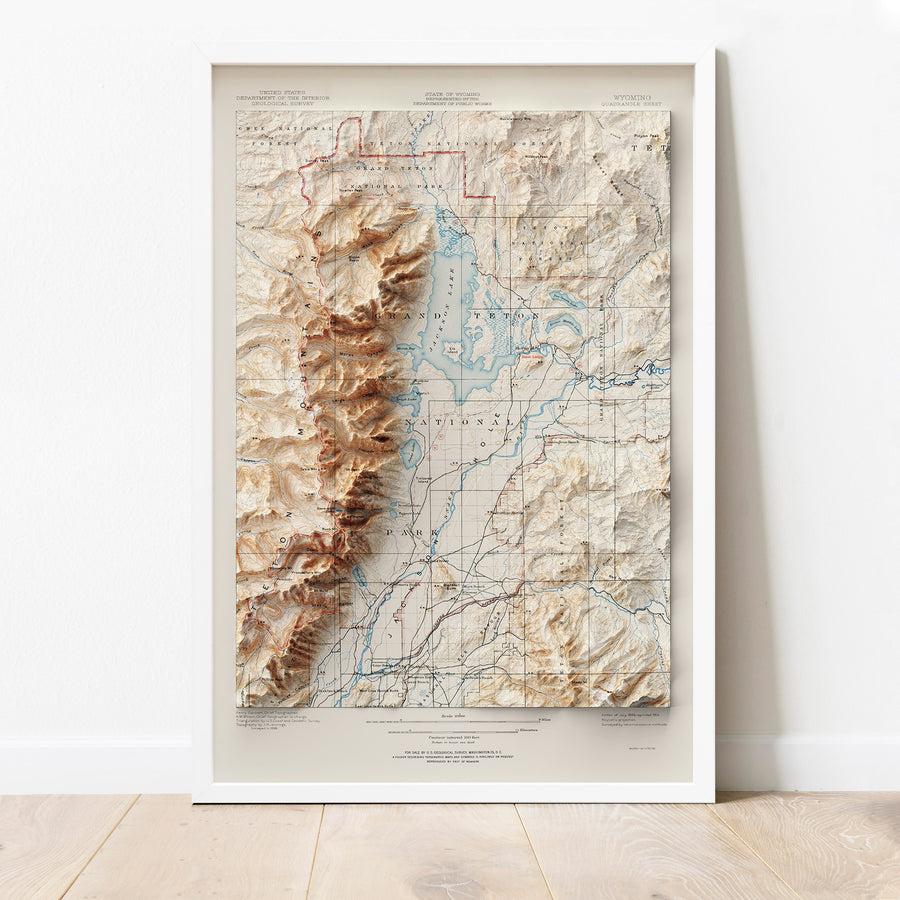 Grand Teton National Park, WY - Vintage Relief Map (1899)