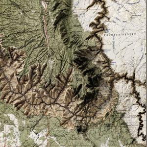 Grand Canyon, AZ - Vintage Relief Map