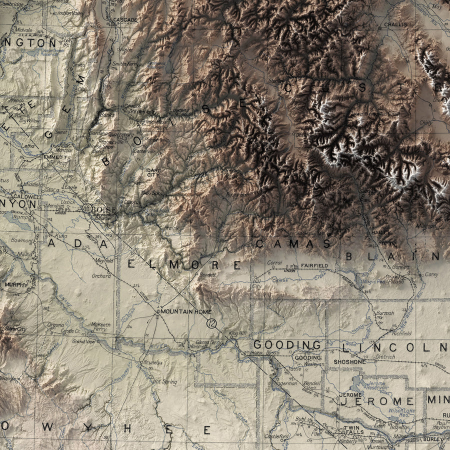 Idaho - Vintage Relief Map (1909)
