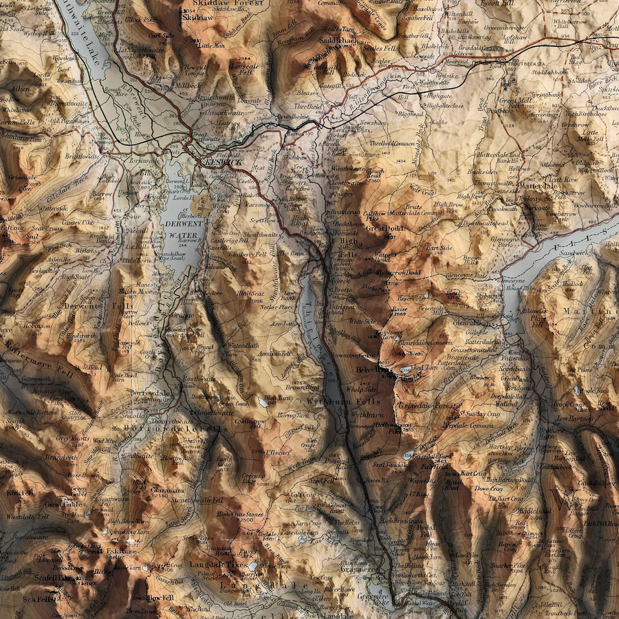 Lake District - Vintage Relief Map (1924)