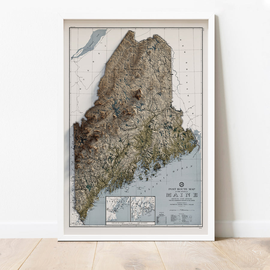 Maine - Vintage Relief Map (1942)