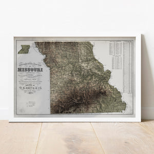 Missouri - Vintage Relief Map (1874)