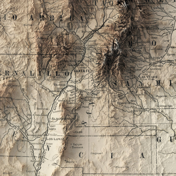 New Mexico - Vintage Relief Map