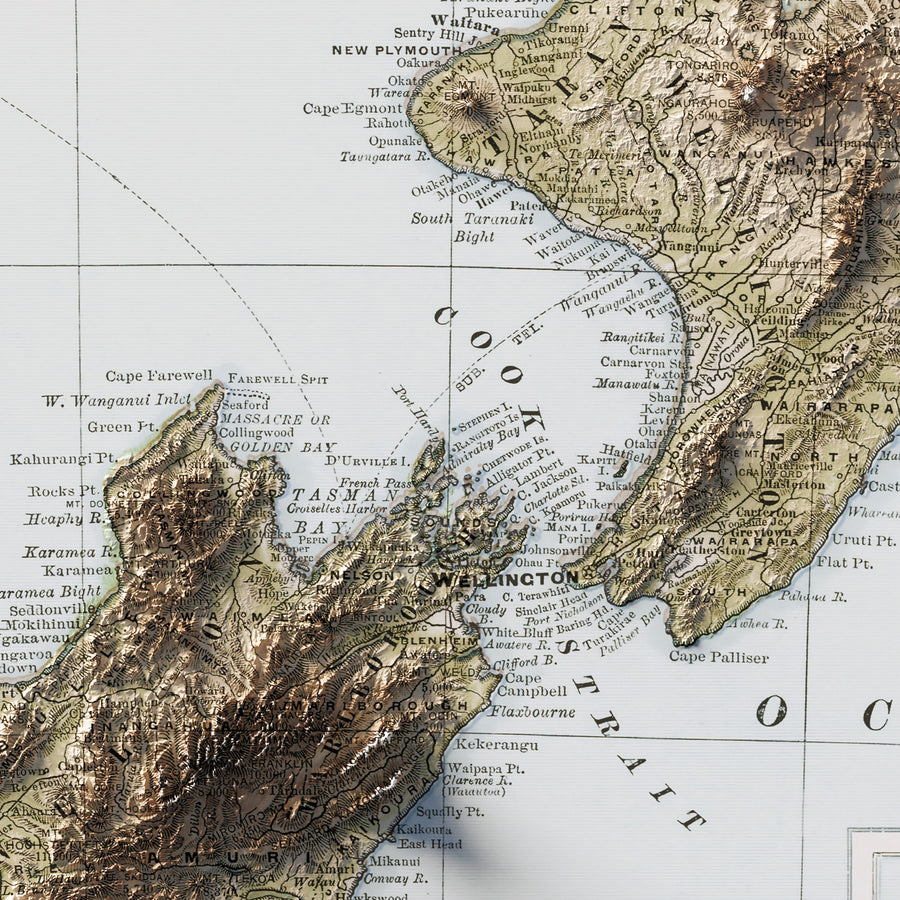 New Zealand - Vintage Relief Map (1912)