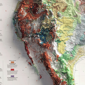 Geologic Map of North America - Vintage Relief Map