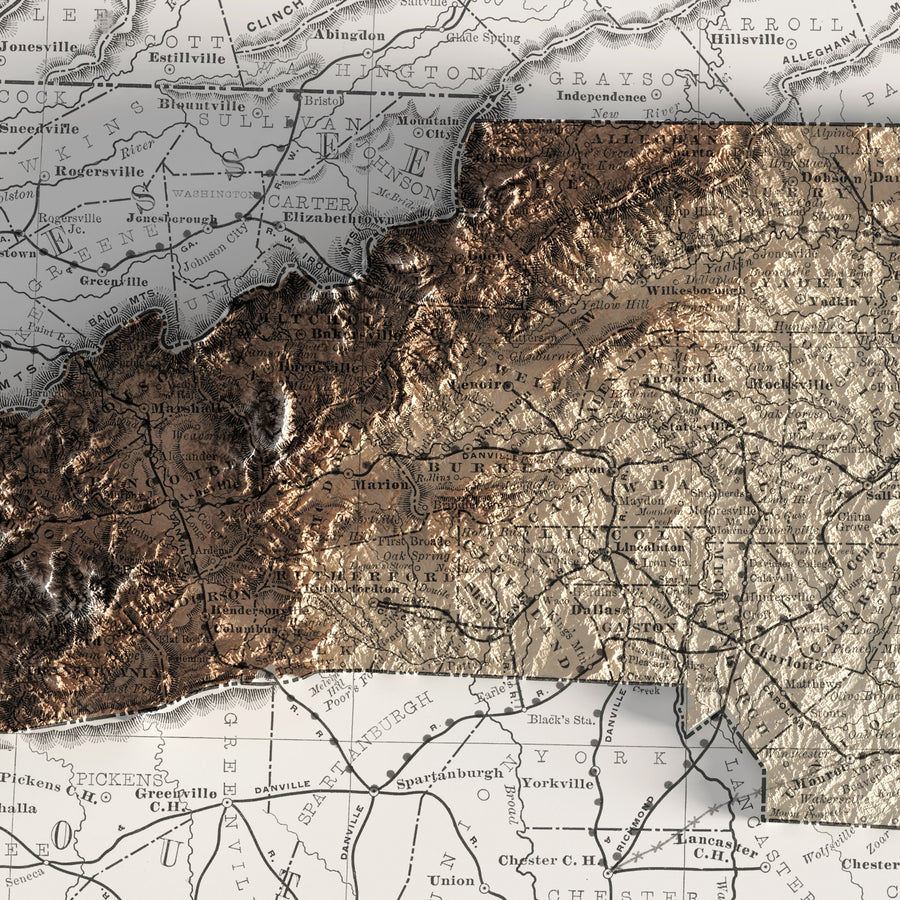 North Carolina - Vintage Relief Map (1889)