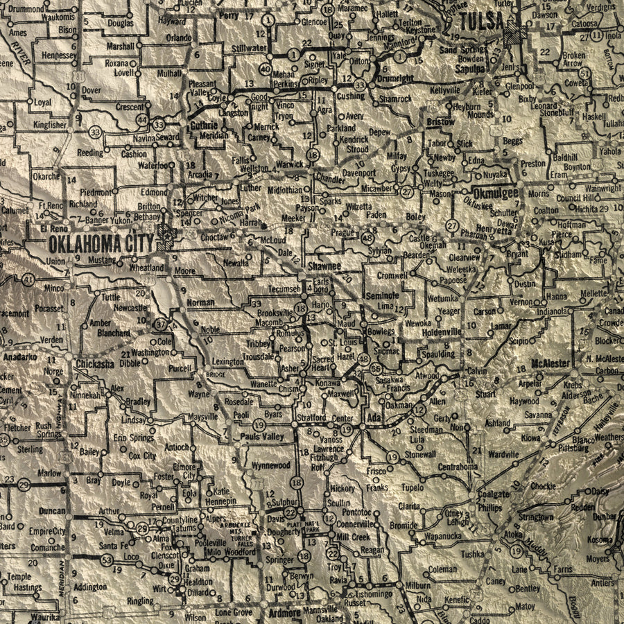Oklahoma - Vintage Relief Map (1931)