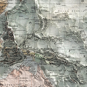 Pacific Ocean - Vintage Relief Map