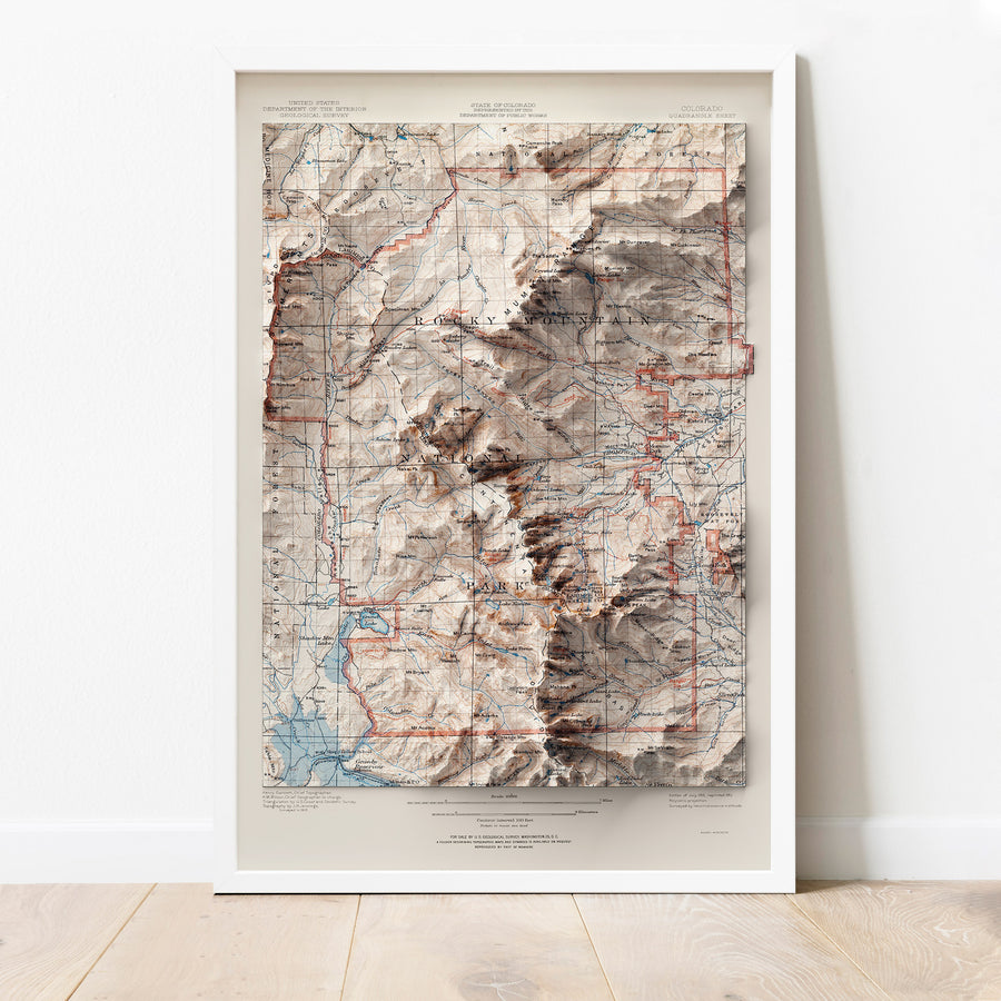 Rocky Mountain National Park, CO - Vintage Relief Map (1919)