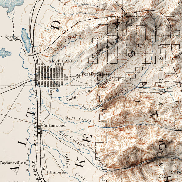 Salt Lake City, UT - Vintage Relief Map