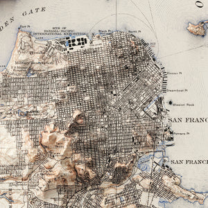 San Francisco Bay, CA - Vintage Relief Map (1915)