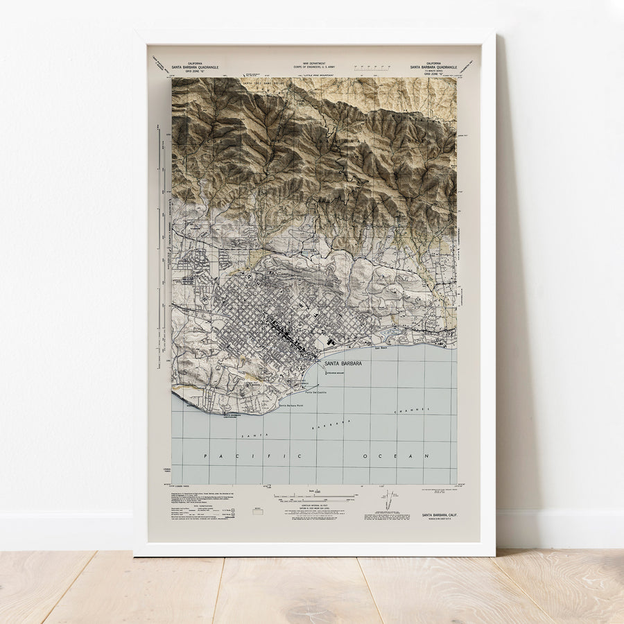 Santa Barbara, CA - Vintage Relief Map (1944)