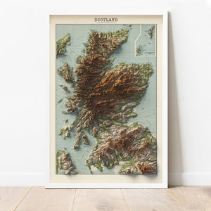 Mainland Scotland - Vintage Relief Map (1922)