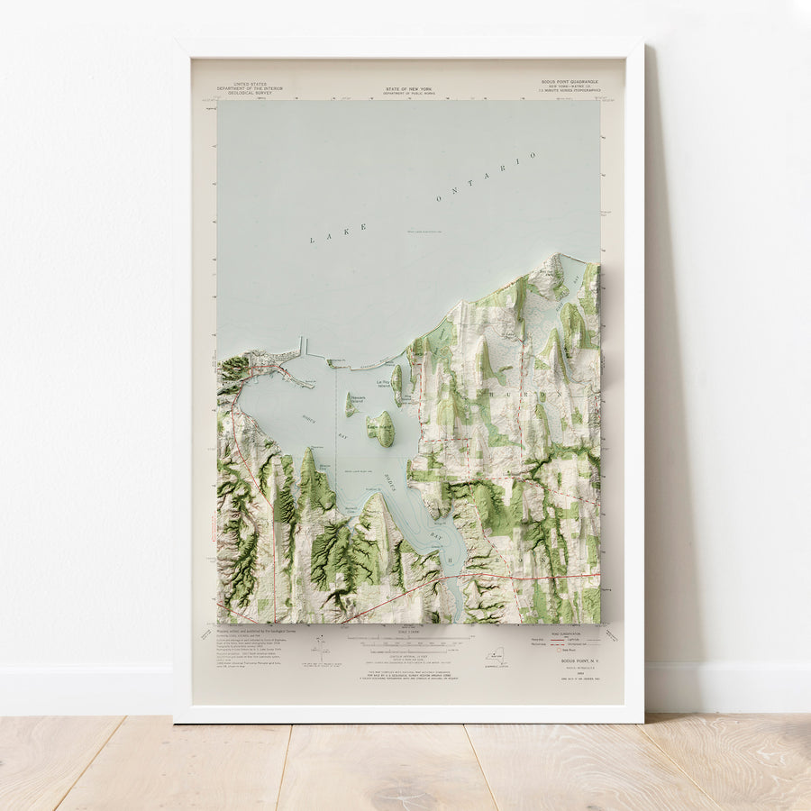 Sodus Bay, NY - Vintage Relief Map (1953)