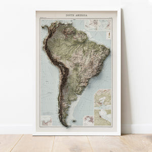 South America - Vintage Relief Map (1922)