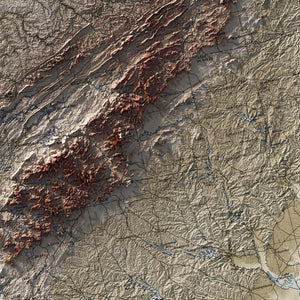 Southern Appalachian Mountains - Vintage Relief Map